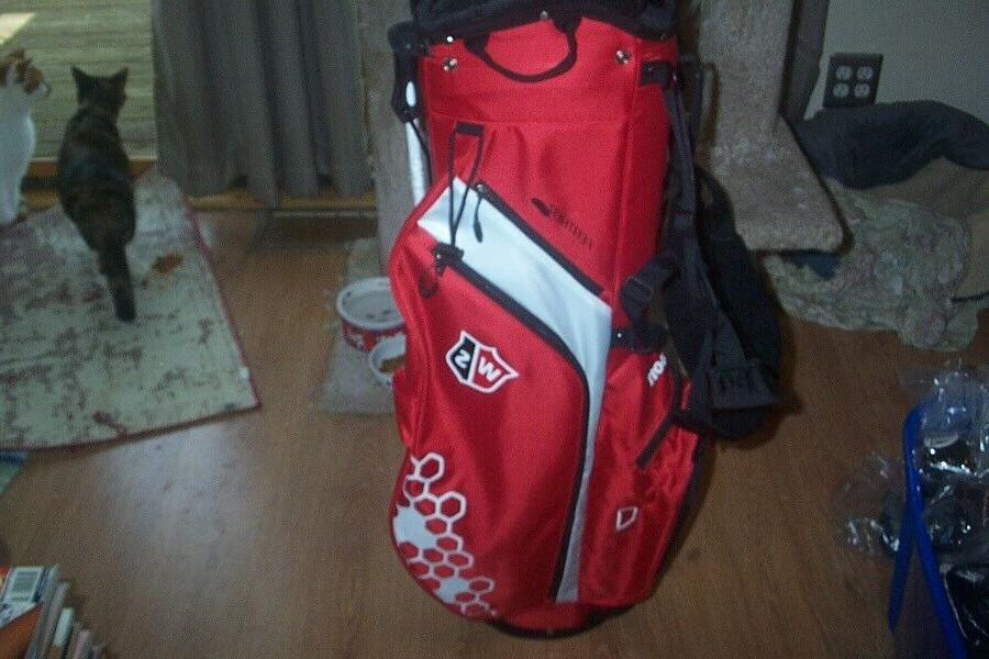 brand new feather stand bag red white