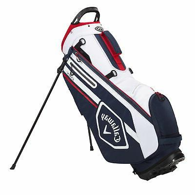 chev stand golf bag navy white red
