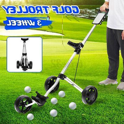 foldable 3 wheel golf push pull trolley