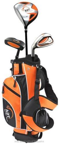 NIB TGA Premier Junior Golf Club Set Orange w/Stand Bag Ages
