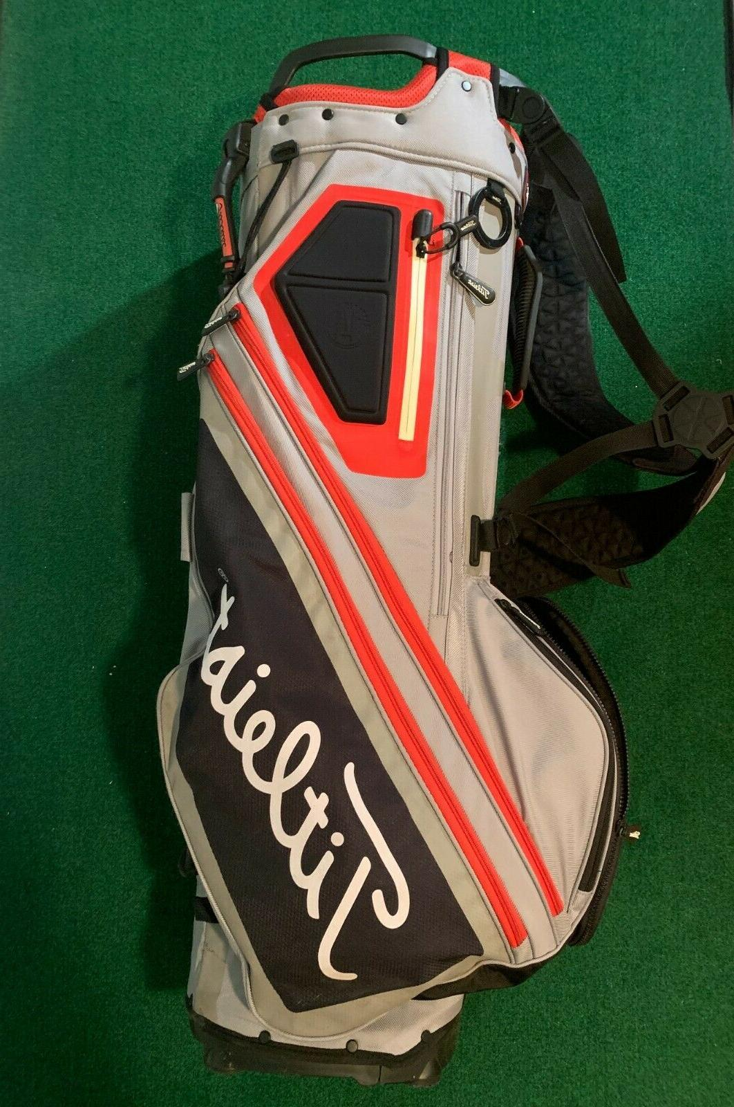 players 14 stand bag grey red used