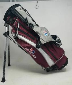 US Kids Golf UL42 Golf Club Stand Bag - Maroon/Silver/White