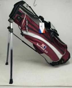 US Kids Golf UL45 Golf Club Stand Bag - Maroon/Silver/White